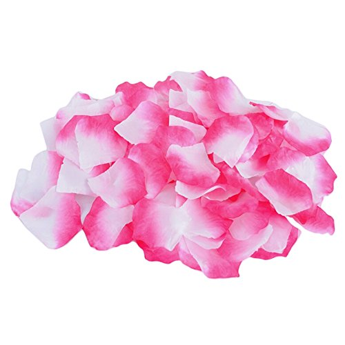 Decora 1000 Pieces Silk Rose Petals for Wedding Confetti and Party Decoration(Deep (White Pink Petal)