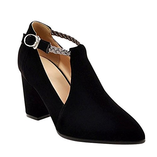 Mee Shoes Womens Sexy Nubuck Pointed-toe Block-heel Court Shoes (5, black)