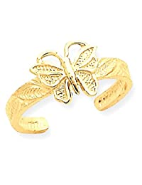IceCarats 14k Yellow Gold Butterfly Toe Ring