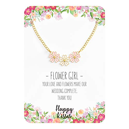 Happy Kisses Flower Girl Necklace - Your Love and Flowers Make Our Wedding Complete. Thank You - Message Card (Light Pink) -