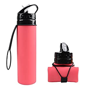 Collapsible Silicone Water Bottle FDA-approved BPA Free Leak-Proof Lightweight Foldable Roll Up for Outdoors, Hiking, Camping, Biking,Sports and Traveling,20.5 Ounces 600ml Red