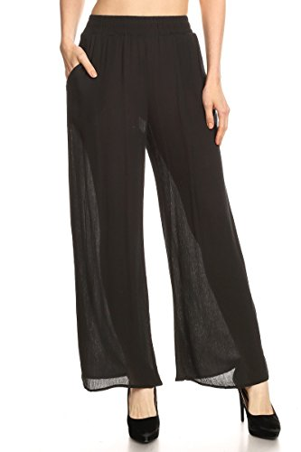 Ambiance Apparel Solid Line Wide Leg Palazzo Elastic Waistband (Large, Black) (Line Wide Waistband)
