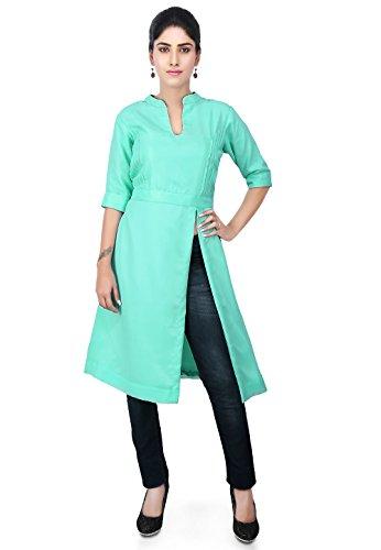 Utsav Fashion Pintucks Georgette Side Slit Kurta in Sea Green Side Slit Georgette
