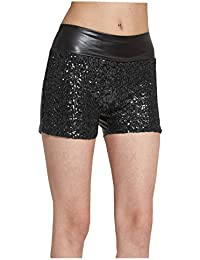Women's Rose Sequins PU Hot Pants Faux Leather Skinny Shorts