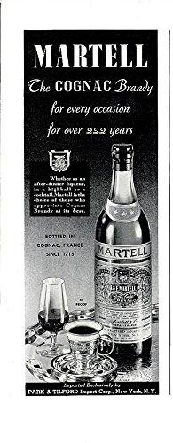 1937 MARTELL COGNAC BRANDY VINTAGE LONG NON-COLOR AD - USA - EXCELLENT ORIGINAL !!