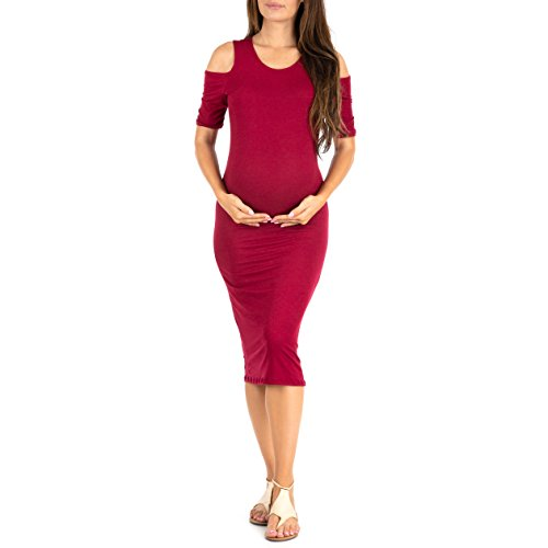 (Women's Cold Shoulder Body-Con Dress in Regular and Plus Sizes - Made in USA Wine)