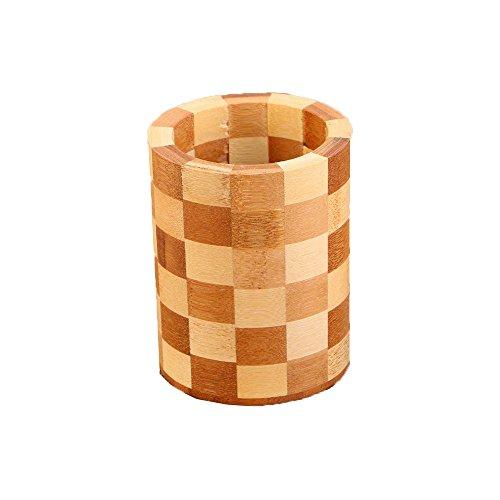 Bamboo Utensil Holder Circular Plaid Divider Organizer Utens