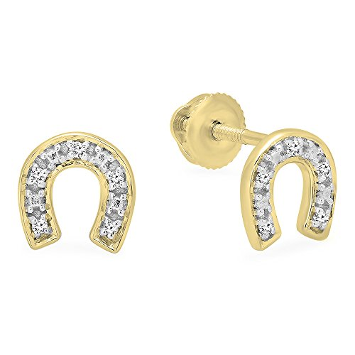 0.06 Carat (ctw) 10K Gold Round White Diamond Horse Shoe Earrings