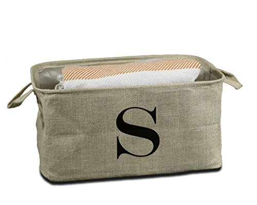 Urban Legacy Letter Initial Monogram Storage Basket Burlap Eco-Friendly Jute. Storage Bin Nursery, Beauty Products, Office Supplies, Gift Basket Monogram (S)