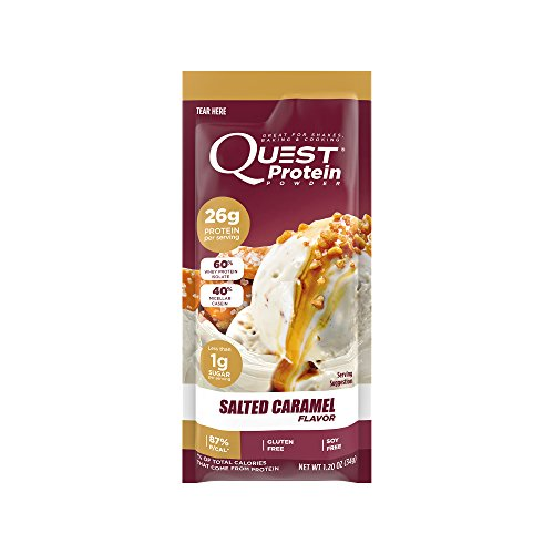 Quest Nutrition Protein Powder, Salted Caramel, 22g Protein, 88% P/Cals, 0g Sugar, 3g Net Carbs, Low Carb, Gluten Free, Soy Free, 1.13oz Packet, 12 Count, Packaging May Vary
