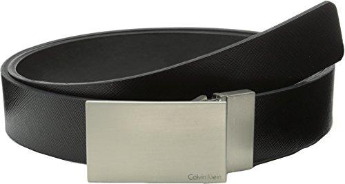 - Calvin Klein Men's 32mm Reversible Flat Strap Plaque Buckle With Logo Belt, Black, 32
