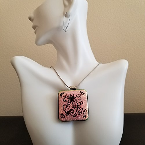 Fused Glass Jewelry, Square Pink Etched Floral Pink Pendant, Chain Included Necklace, Classy Dichroic Glass Sparkling Necklace Pendant, Beautiful and Unique One Of A Kind Handmade Art Jewelry Square Fused Glass Pendant