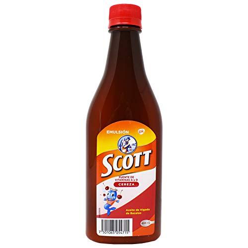 Scott Emulsion Cherry Flavor Family Size - 400ml  - Vitamin Supplement Rich in Cod Liver Oil, Vitamins a and D, Calcium and Phosphorus - Sabor Cereza (Emulsion Scott)