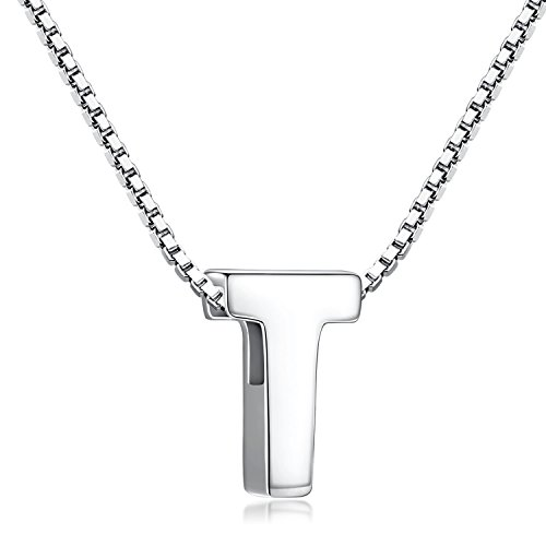 Charms Silver Sterling Personalized - Candyfancy T Initial Necklace 925 Sterling Silver Alphabet Personalized A-Z Letter Pendant Necklace for Women Girls Gift with 18