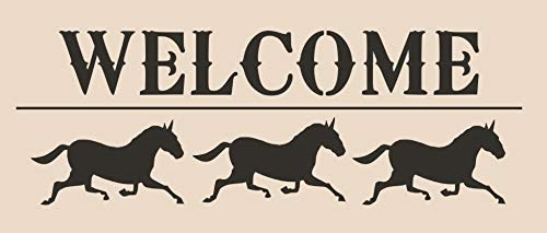 OutletBestSelling Stencil Welcome Horses Farm Sign Pillow Crafts Country Cottage Primitive