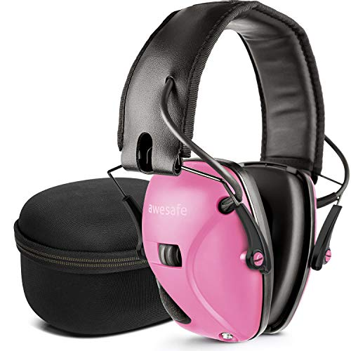 awesafe Electronic Shooting Earmuff, Noise Reduction Sound Amplification Electronic Safety Ear Muffs with Storage Case, Pink (Target Practice Ear Protection)