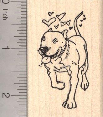Loving Pit bull terrier dog rubber stamp, Valentine's Day pitbull