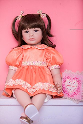 PURSUEBABY Beautiful Soft Body Real Life Toddler Princess Doll Long Hair Taylor, 24 Inch Lifelike Reborn Toddler Girl Dolls with Pacifier Snuggle Soft Baby Gift