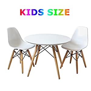 Buschman Set of Table and 2 White Kids Eames Style Retro Modern Dining Room Mid Century Shell Chair Metal Natural Wood Dowel Leg Base Plastic Molded Armless No Arms Children Kid Designer Side Chairs