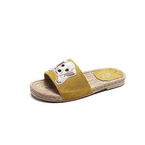 Queena Wheeler Women Sandals Women Flats Shoes Platform Female Slides Beach Flip Flops Summer Shoe Yellow