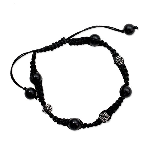 NOVICA Adjustable Length Macrame Shamballa Bracelet with Sterling Silver and Onyx 'Prayer for Peace' (Sterling Adjustable Length Bracelet Silver)