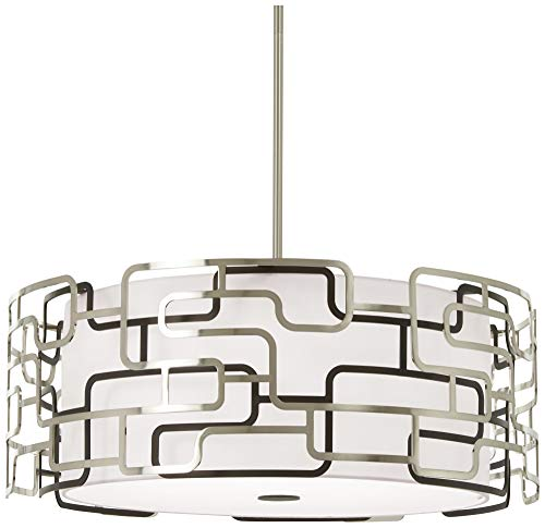 George Kovacs P1427-674-L Alecia's Tiers Pendant, 1-Light LED, Brushed Nickel with Bronze Patina 1 Tier Frosted Glass Chandelier
