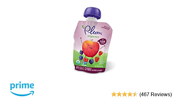 Plum Organics Mashups, Organic Kids Applesauce, Strawberry, Blackberry & Blueberry, 3.17 ounce pouch, 4 count (Pack of 6)