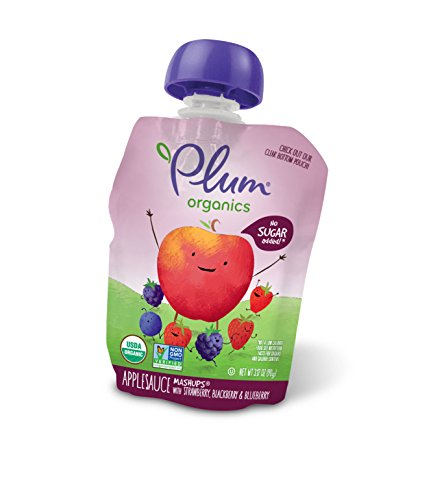 Plum Organics Mashups, Organic Kids Applesauce, Strawberry, Blackberry & Blueberry, 3.17 ounce pouch, 4 count (Pack of 6) ()