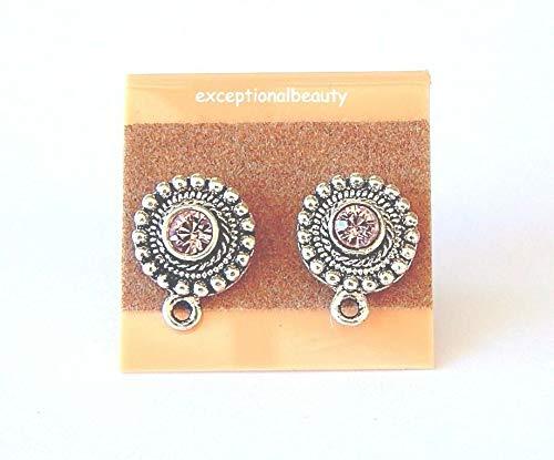 Silver Beaded Bead Earring Findings Swarovski Crystal Pure Allure Rhinestones