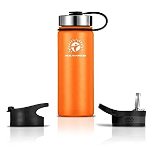 Stainless Steel Water Bottle/Thermos: ​18 Oz.​ Double Walled Vacuum Insulated Wide Mouth Travel Tumbler, Reusable BPA Free Twist Lid Bottles for Hot or Cold Liquid: Bonus Flip & Straw Lids - ​Orange
