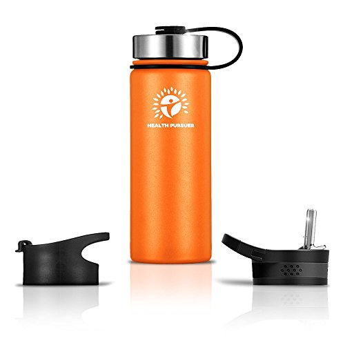 Stainless Steel Water Bottle/Thermos: ​18 Oz.​ Double Walled Vacuum Insulated Wide Mouth Travel Tumbler, Reusable BPA Free Twist Lid Bottles for Hot or Cold Liquid: Bonus Flip & Straw Lids ()