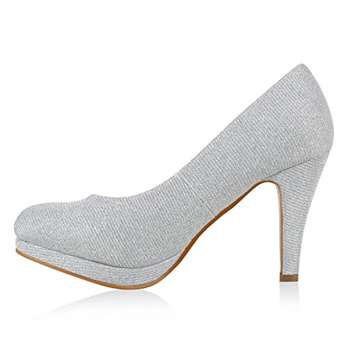 Stiefelparadies Damen Glitzer Pumps Plateaupumps Stiletto High Heels Velours Peeptoes Leder-Optik Plateau Vorne Party Schuhe Flandell Silber Camiri