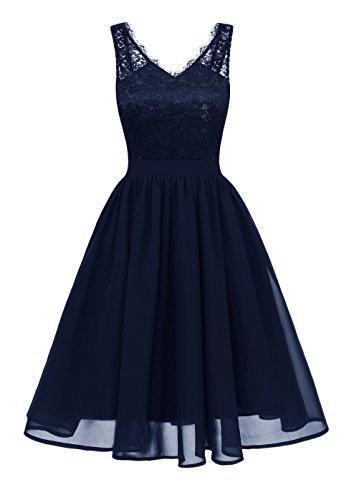 961ad16a15ee Battercake Sommerkleider Damen Elegant Festlich Abendkleider Ärmellos V  Ausschnitt Rückenfrei Rockabilly Casual Frauen Kleid A-