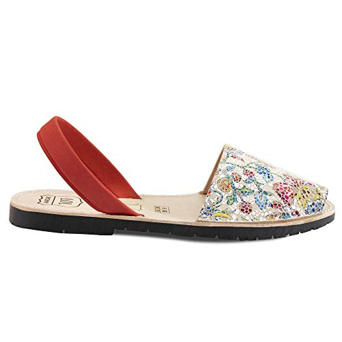 Avarcas Sandals for Women - Handmade in Spain with Natural Leather- Slip on/Slingback Flats (US 10 (EU 40), Spring Mosaic)