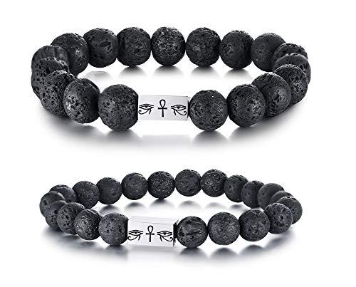 VNOX Eye of Horus Eye of Ra Ankh Cross Lave Rock Stone Essential Oil Diffuser Beaded Bracelet Set for Him Her