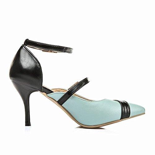 ... Mee Shoes Damen modern reizvoll spitz ankle strap Kitten-Heel  Trichterabsatz Schnalle Knöchelriemchen Pumps Blau ...