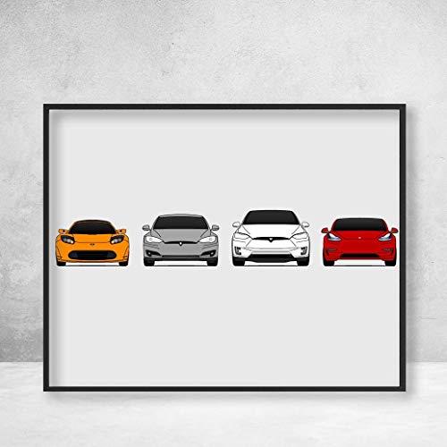 - Tesla Car Poster Print Wall Art of the History and Evolution of Tesla Motors Generations (Car Models: Roadster, Model S, Model X, Model 3)