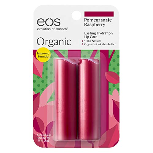 - eos Organic Stick Lip Balm - Pomegranate Raspberry | Certified Organic & 100% Natural | 0.14 oz.