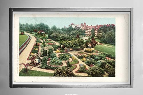 New York Map Company  Flower Beds, Lake Mohonk, N.Y, 1903 Postcard Vintage Antique Fine Art Reproduction Photo |Size: 7x12|Ready to Frame