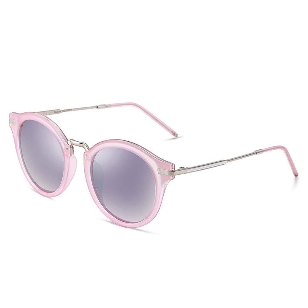 Polarized Sunglasses Female Couple Retro Round Frame colorful Film Light Trendy Sunglasses Bright Black Frame Transparent Pink