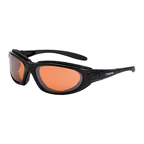 Crossfire Eyewear 28216 AF Journey Foam Lined Safety Glasses with Black Frame and Copper Anti-Fog - Sunglasses Foam Lined