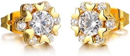Anazoz Fashion Jewelry Titanium Steel Earrings Round Shape Cubic Zirconia For Women's Earrings