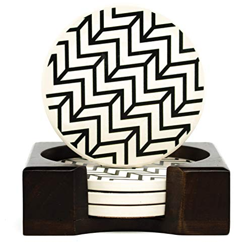 Coaster Set of 4 with Holder | Stone Drink Coasters Set, Chevron. Absorbent with Beautiful Wood Holder | Made of Ceramic with Cork Back, Absorbs Spills
