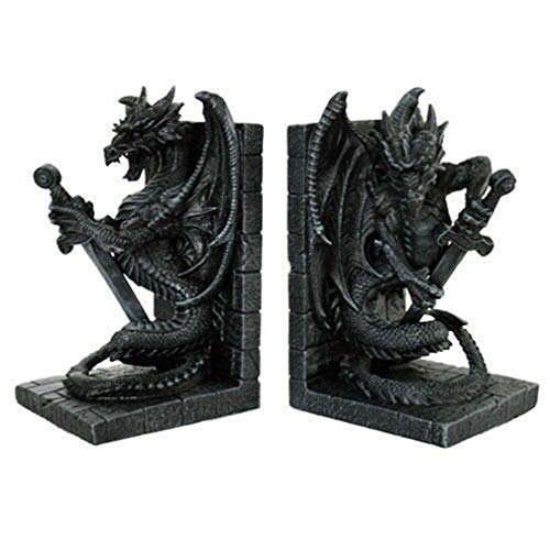 Ky & Co YK Ancient Dragon Guardian Holding Sword Bookends Set of Two Figurine Statue Decor