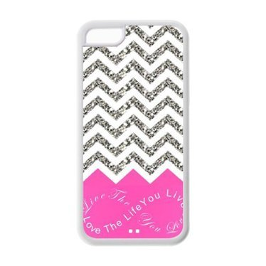iPhone 5C Case - Best Pink Infinity Chevron Live the Life You Love, Love the Life You Live TPU Cases Accessories for Apple iPhone 5C (Cheap IPhone5) (Feathers Form And Function)