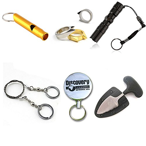 6-In-1 Survival Whistle Outdoor Fishing Gear Flashlight Self-Defense Key Chain