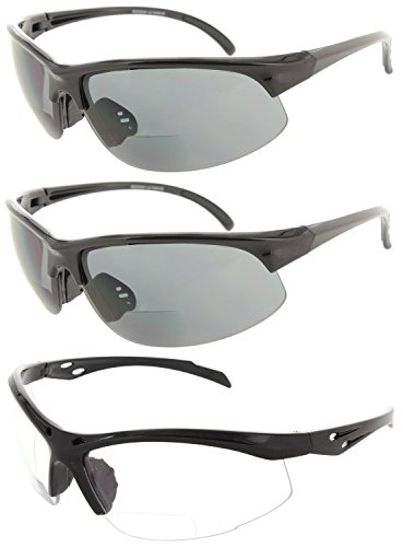 Fiore 3 Pack Bifocal Sport Wrap Reading Sunglasses Readers for Men and Women [2.00, 2 Black | 1 - Light Fiori 2