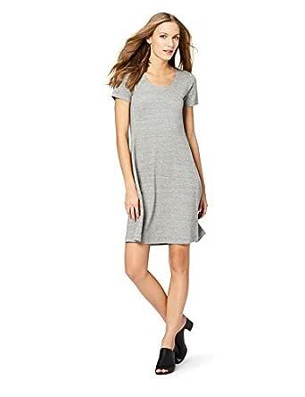 Daily Ritual Amazon Brand Women's Pima Cotton and Modal Short-Sleeve Scoop Neck Dress, Heather Grey Spacedye, X-Small