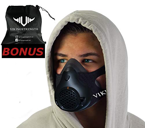 Vikingstrength Training Workout Mask for Running Biking MMA Endurance with Adjustable Resistance, High Altitude Elevation Mask for Air Resistance Training [24 Breathing Levels] (Improved Design)