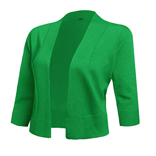 AAMILIFE Women's 3/4 Sleeve Cropped Cardigans Sweaters Jackets Open Front Short Shrugs for Dresses (Small, Green)